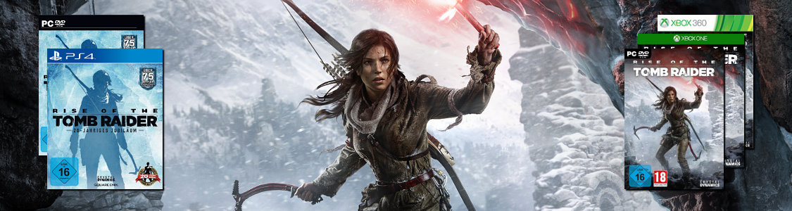 RISE OF THE TOMB RAIDER<br /><span><a href='http://www.tombraider-game.de/rise-of-the-tomb-raider'>Jetzt für PS4, PC, Xbox One & Xbox 360 erhältlich!</a></span>